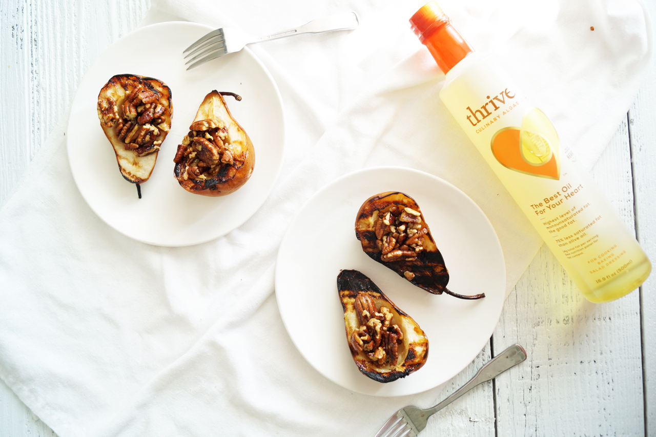 Grilled Pears with Cinnamon Maple Pecans | Easy, Healthy Recipe | HealthyGroceryGirl.com