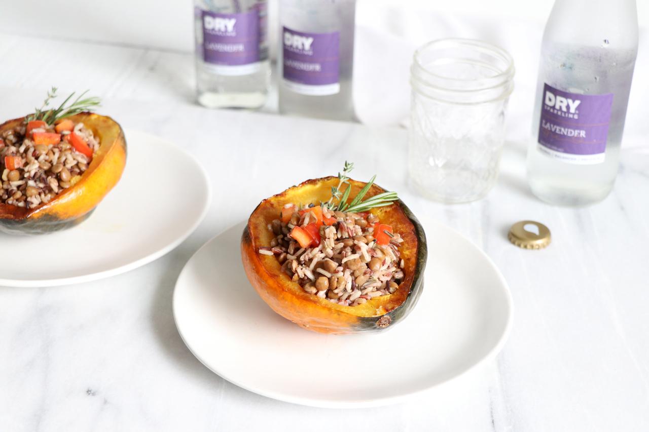 Wild Rice Stuffed Acorn Squash | Healthy Holiday Recipe | HealthyGroceryGirl.com