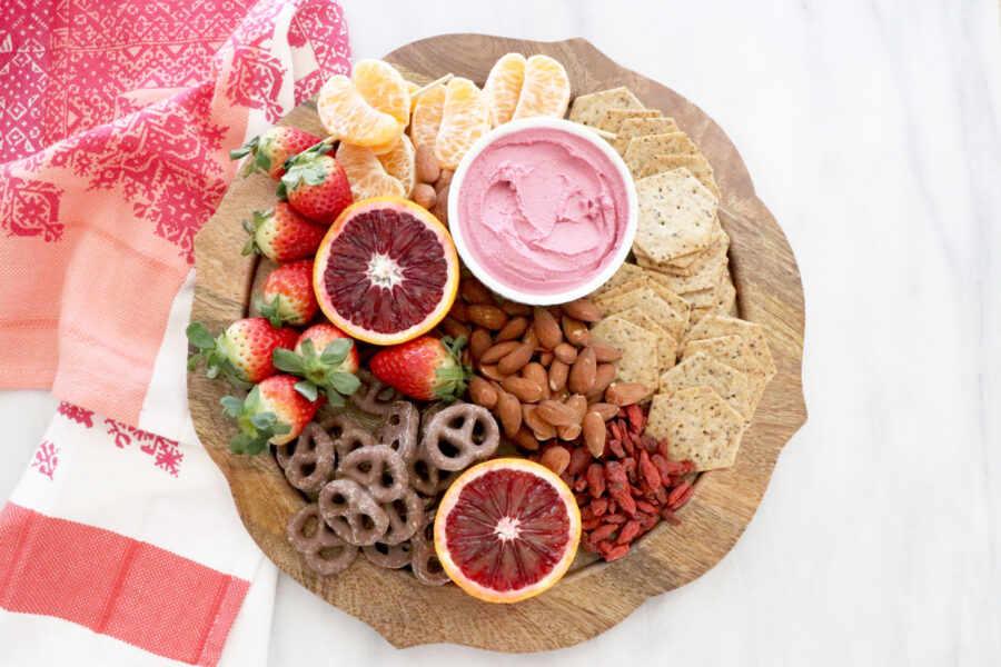 Gluten Free, Dairy Free Fruit, Nuts, and Crackers Valentine's Day Snack Board