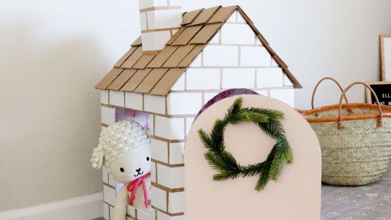 diy cardboard box playhouse tutorial  healthy grocery girl