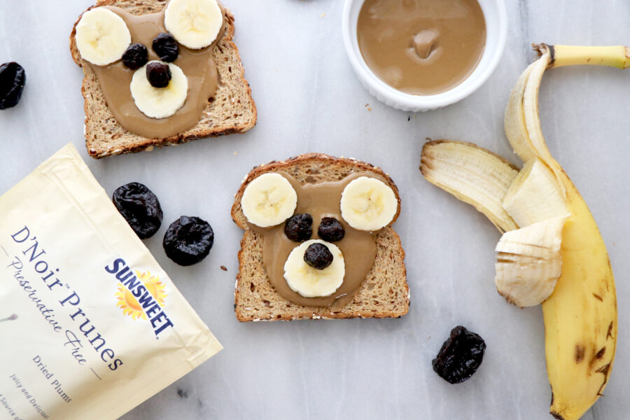 Teddy Bear toast with prunes, peanut butter and bananas.