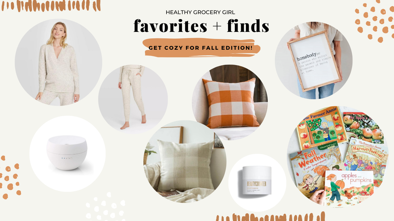 Cream Loungewear set, diffuser, fall toddler books, farmhouse pillows and beauty counter moisturizer