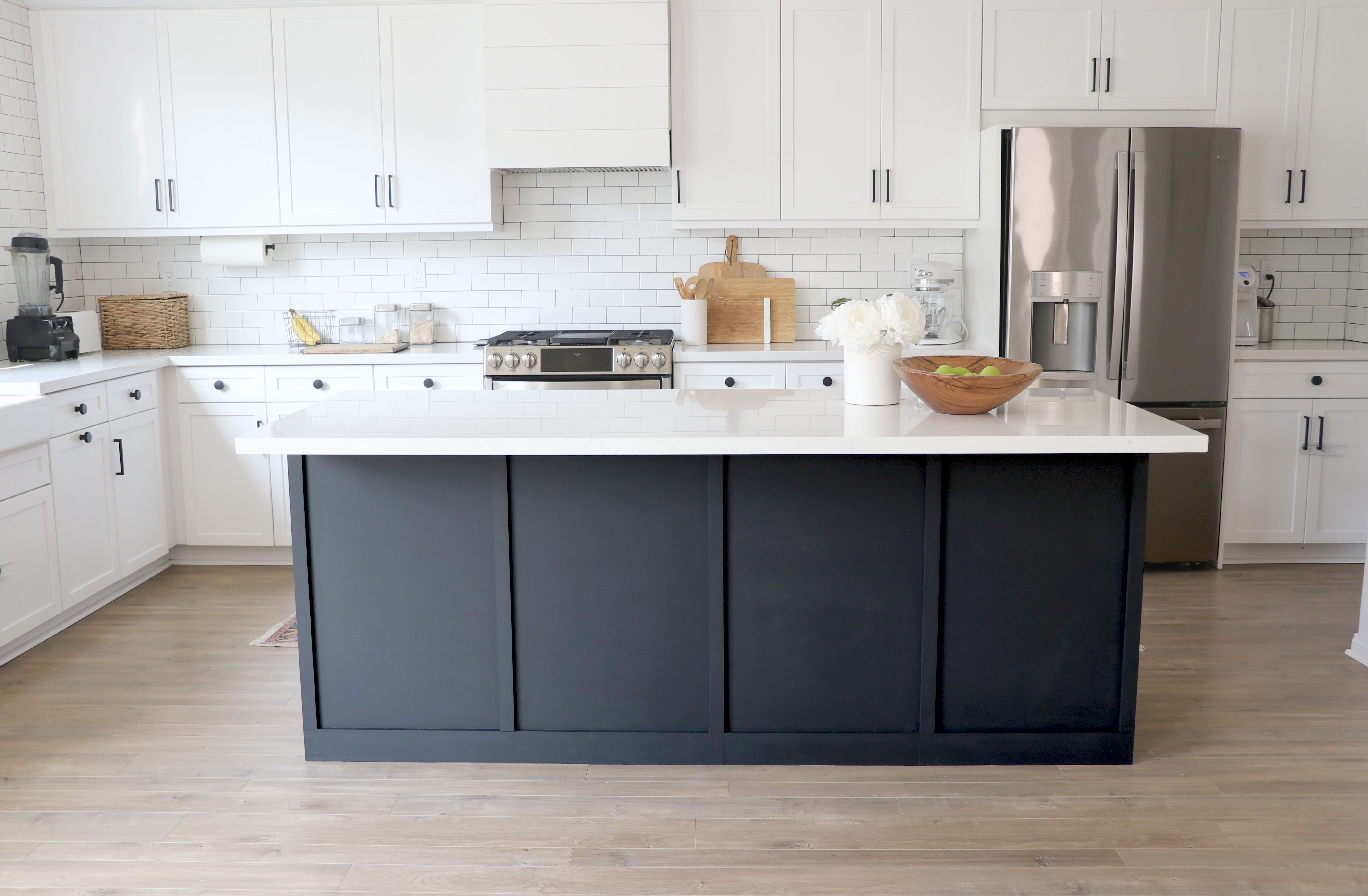 Board and Batten Trim Added To Kitchen Island, Eco-Friendly Dark Charcoal Paint