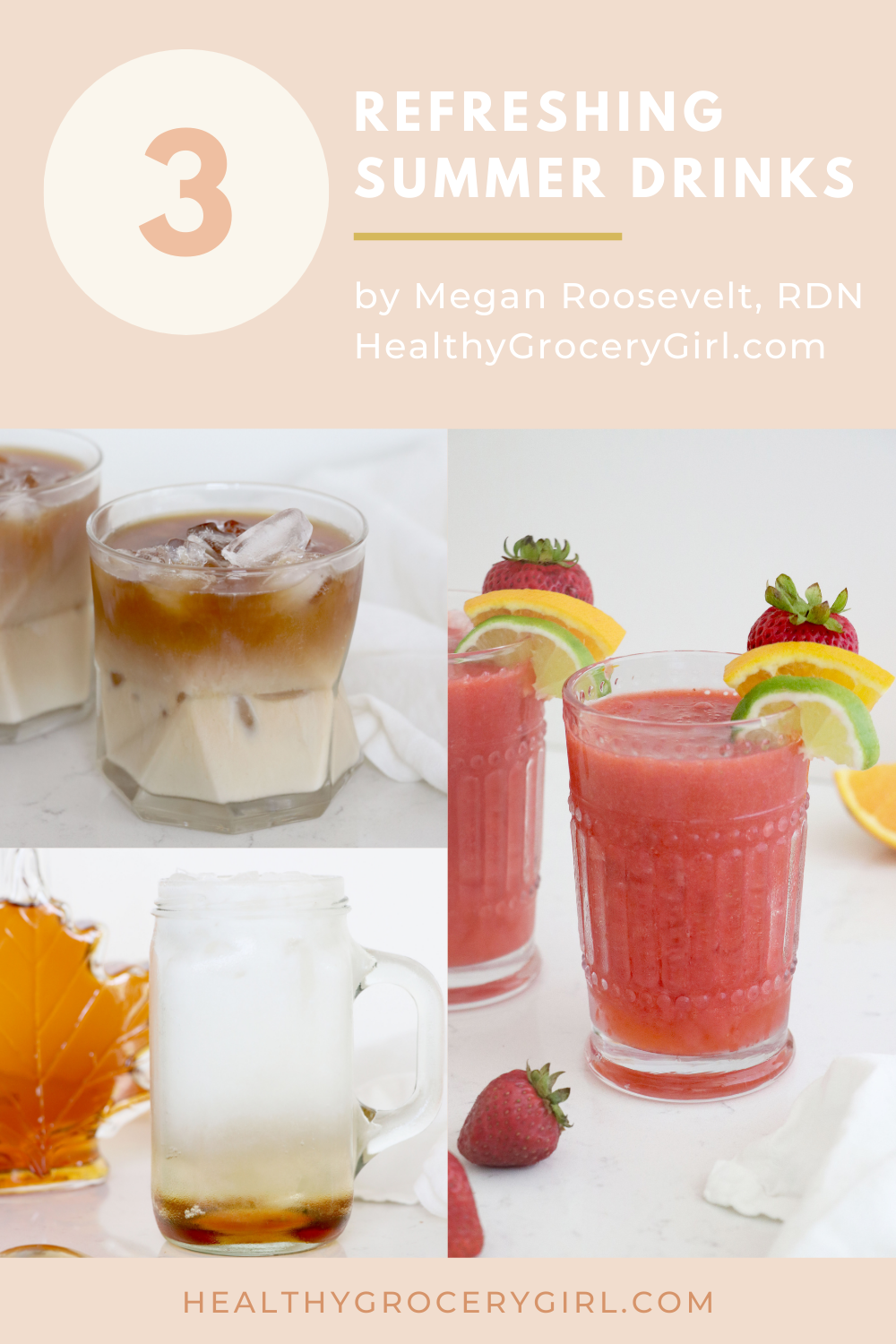 3 Summer Drinks, A Strawberry Margarita Mocktail in a glass with fruit garnish, iced-coffee made with oatmilk in glass, italian soda in glass