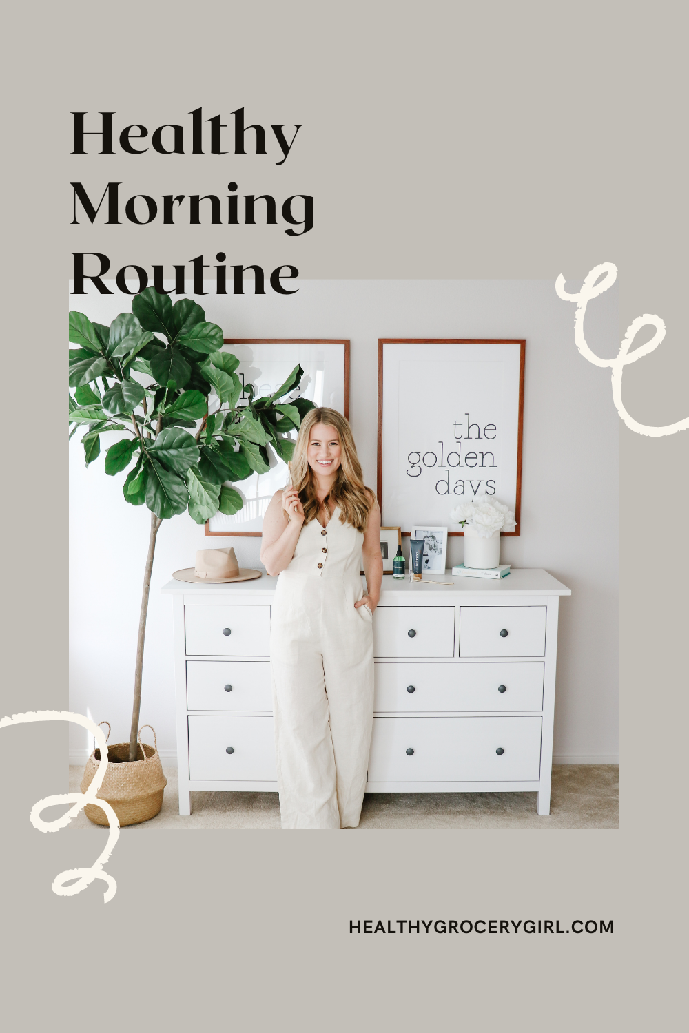 Woman standing in front of Ikea dresser with natural sustainable oral care sharing about her morning routine