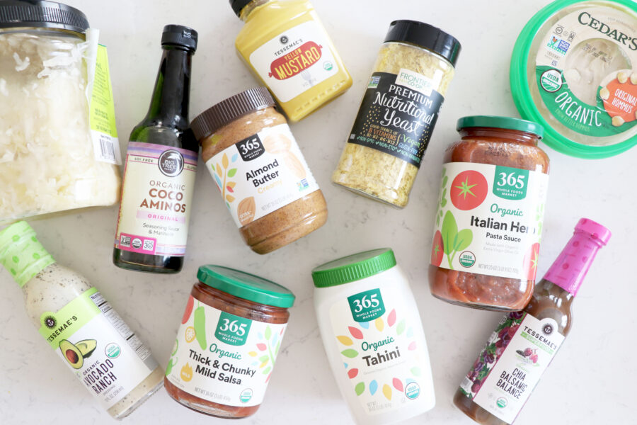 Healthy Condiments on Marble Countertop