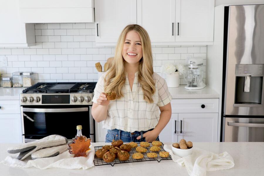 Megan Roosevelt in kitchen showing plant-based snacks
